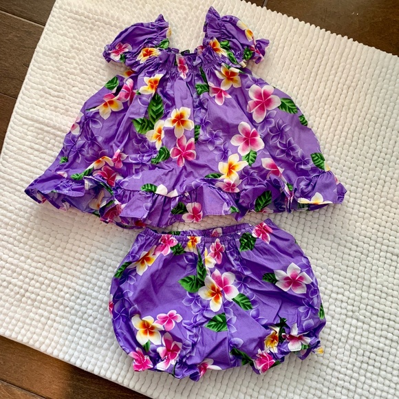 838061ffbc2 NWT Baby Girl Hawaiian Two Piece Outfit Dress 24M NWT